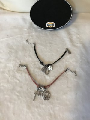 Fossil Designerschmuck Armbändchen Schwarz und Rosé mit süßen Anhängern