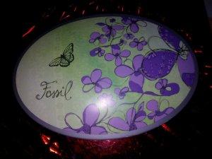Fossil Button dark violet-grass green