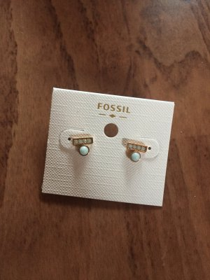 Fossil Ear stud gold-colored-baby blue