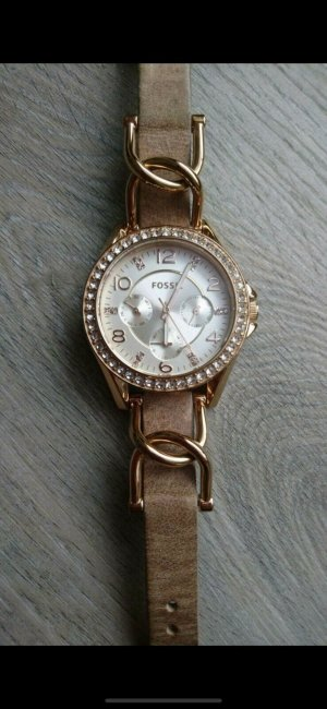 Fossil Watch With Leather Strap sand brown-pale yellow leather