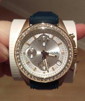 fossil es2965 damenuhr armbanduhr neu gold grün kautschuk