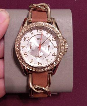 Fossil es3723 damenuhr neu armbanduhr leder braun gold kristall
