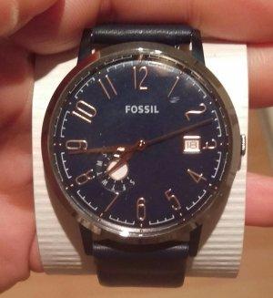 fossil es4107 damenuhr armbanduhr leder neu blau