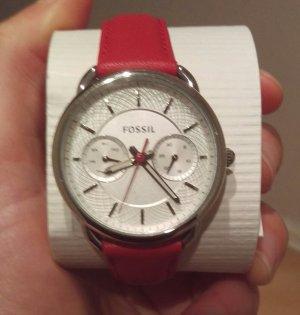fossil es4122 damenuhr armbanduhr leder neu rot edelstahl