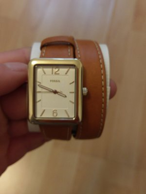 Fossil es4159 Armbanduhr Damenuhr leder neu braun gold