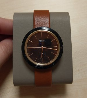 Fossil es4382 Damenuhr Armbanduhr neu leder schwarz rosė