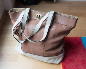 Fossil große Umhängetasche Tasche Tote Bag Shopper Echtleder mit Schlüssel creme nude braun