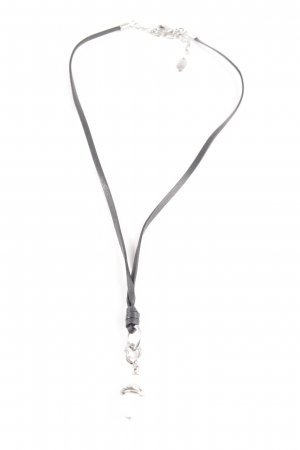 Fossil Necklace black-silver-colored casual look