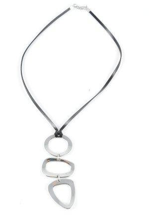 Fossil Collar negro-color plata estilo clásico