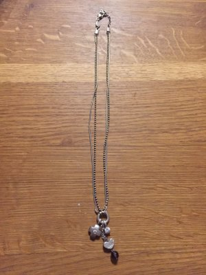 Fossil Necklace silver-colored-black
