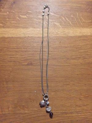 Fossil Halskette, Silber, Kreuz & Herz