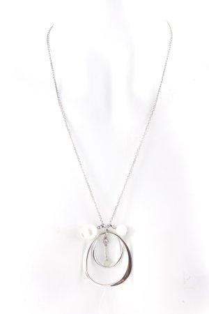 Fossil Halskette silberfarben-weiß klassischer Stil