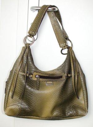 FOSSIL hochwertige Kunstleder Tasche in Schlangenoptik grün