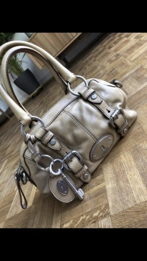 Fossil Leder Handtasche beige