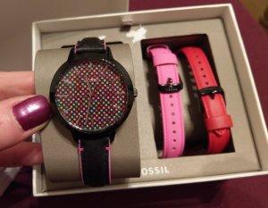 fossil neu damenuhr armbanduhr leder multicolor mkt wechselband