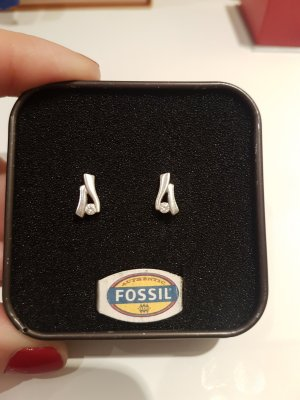 Fossil Ear stud silver-colored real silver
