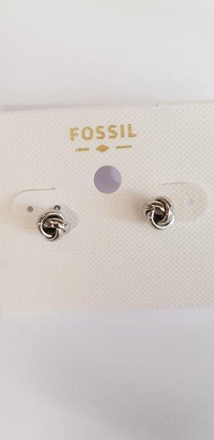 Fossil Ohrringe klein silber Knoten neu