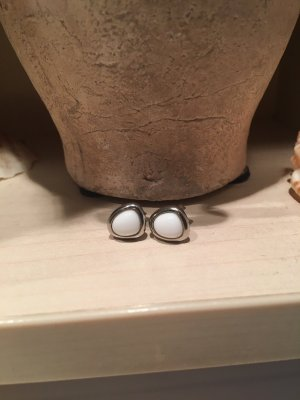 Fossil Ear stud silver-colored-white