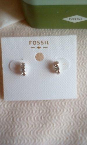 Fossil Orecchino a vite bianco-argento Acciaio pregiato