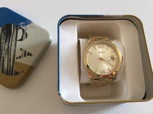 Fossil Reloj con pulsera metálica color oro-crema