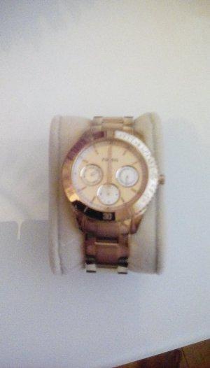 Fossil quartz Uhr rosévergoldet edelstahl