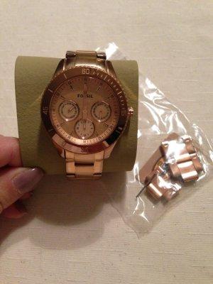 Fossil Quartz Uhr rosévergoldet edelstahl gebraucht