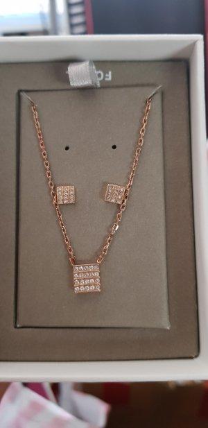 fossil Schmuck set Halskette Ohrringe rosegold