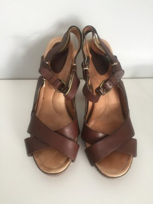 Fossil Plateauzool sandalen bruin