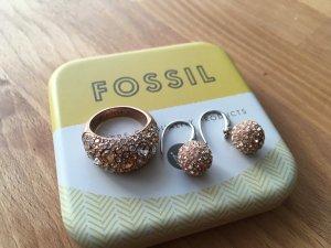 Fossil Set - Rosé Schmuck - Ohrringe und Ring