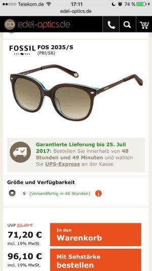 Fossil Sonnenbrille braun Blau leichtes CAT eye Modell