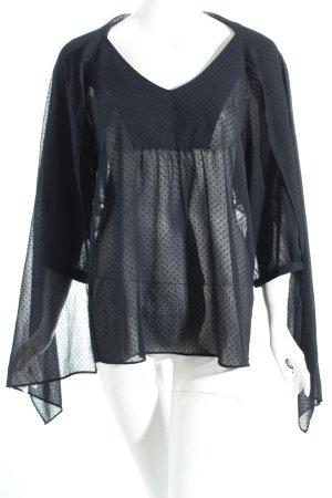 Fossil Transparenz-Bluse schwarz-dunkelblau Punktemuster Romantik-Look