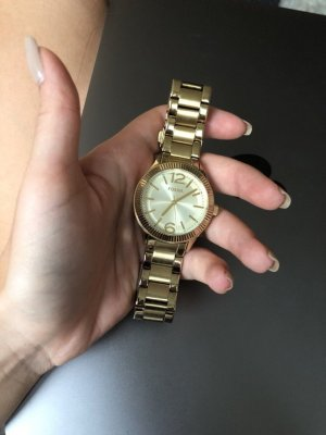 Fossil Watch With Metal Strap white-gold-colored
