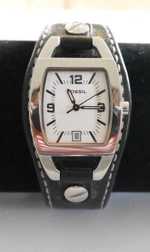Fossil Uhr Armbanduhr mit Lederarmband, Damenuhr, schwarz
