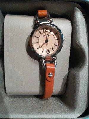 Fossil Horloge zilver-cognac