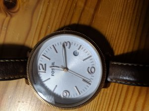 Fossil Watch With Leather Strap bronze-colored-sand brown leather