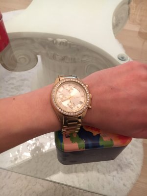 Fossil Watch With Metal Strap gold orange