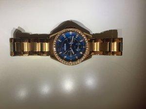 Fossil Uhr Gold/Blau ohne Batterie