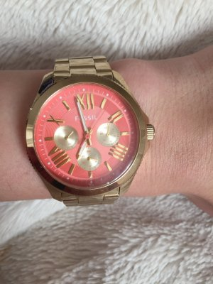 Fossil Uhr Gold Lachs / korall