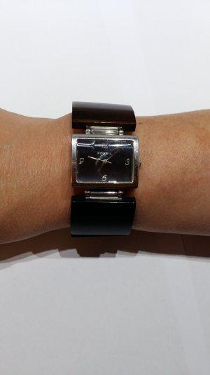 Fossil Uhr in silber mit braunem Armband