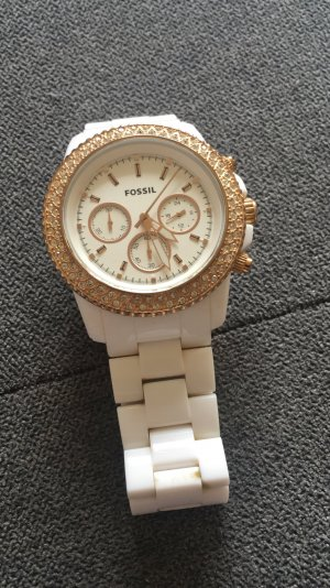 Fossil Watch white-sand brown synthetic material