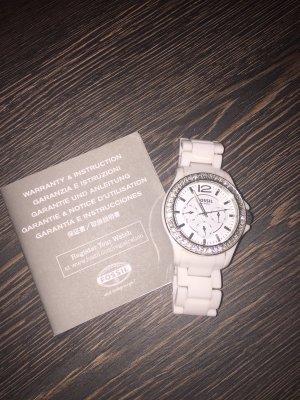 Fossil Uhr Keramik weiß / Silber