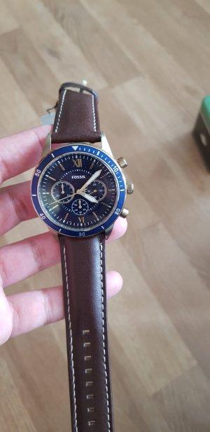 Fossil Uhr Lederband braun blau