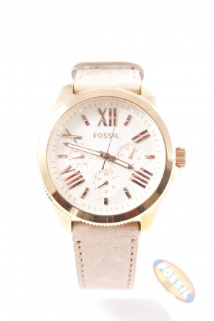 "Fossil Watch With Leather Strap ""AM4532 Cecile Chrono Sand"" dusky pink"