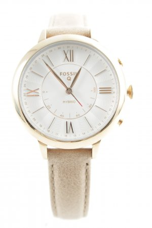 Fossil Watch With Leather Strap gold-colored-beige casual look