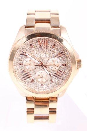 Fossil Uhr mit Metallband roségoldfarben extravaganter Stil
