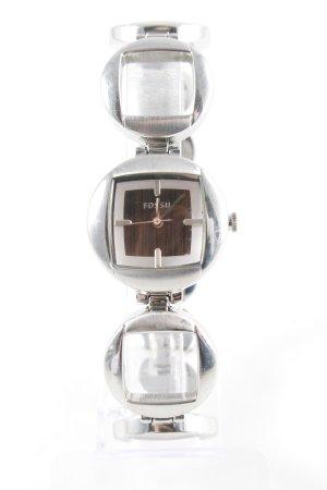Fossil Horloge met metalen riempje zilver casual uitstraling