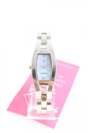 Fossil Uhr mit Metallband silberfarben-himmelblau schlichter Stil