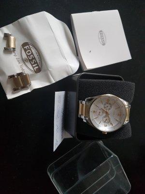 Fossil Uhr mit Originalpapieren, in Silber, Edelstahl und vergoldet