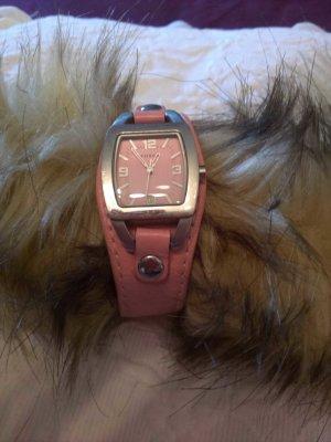 Fossil Uhr mit rosefarbigem Lederarmband