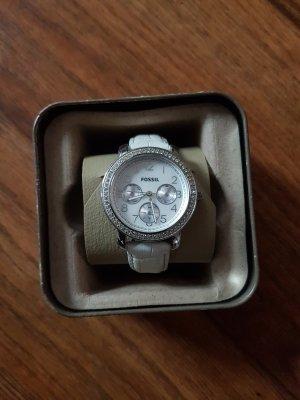 Fossil Uhr mit weißem Lederband